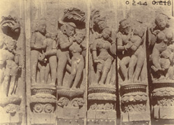 Group of sculptured pilaster figures representing amorous scenes, from the Surya Temple or Black Pagoda, Konarka 1003364